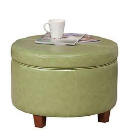 Homepop Round Leatherette Storage Ottoman With Lid, Moss Gre