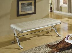 ACME Furniture Royce Bench in Beige and Chrome
