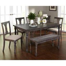 Rustic Dining Table Set 6 Piece Gray Weathered Kitchen Chair