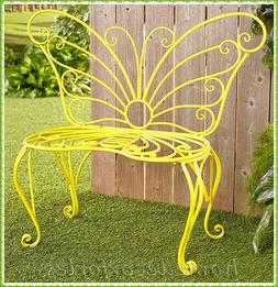 YELLOW METAL BUTTERFLY GARDEN BENCH Seat Outdoor Patio Porch