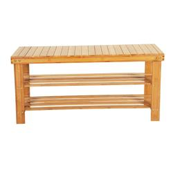 Shoe Rack Bench Shoe Organizer 3-Tier Bamboo Shoe Storage Sh