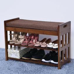 2 Tier Shoe Storage Rack Bench Shelf Soft Seat Stool Organiz