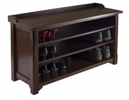 Shoe Storage Bench Wood Cabinet With 3 Shelves For Entryway