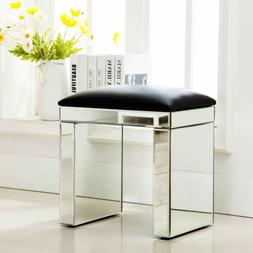 Modern Mirrored Glass Bench Vanity Make-up Padded Stool Home