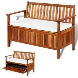 Solid Acacia Wood Garden Bench with Cushion Storage Compartm