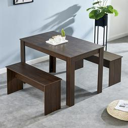 solid dinging set with 2 bench dining