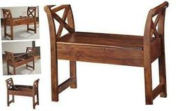 Storage Accent Bench-Casual-Warm Finish, Abbonto - Brown