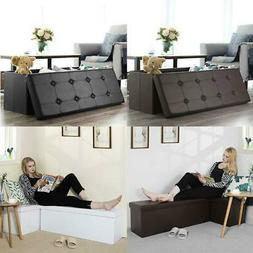 Storage Bench Ottoman Chest Collapsible Folding Foot Rest Fa