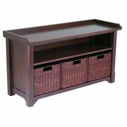 Pemberly Row Storage Bench with 3 Wired Baskets in Antique W