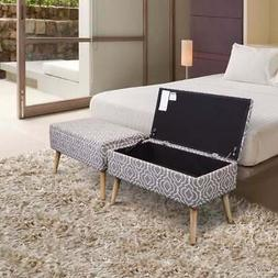 Storage Ottoman Bench 30 Inch Easy Lift Top Upholstered, Gre