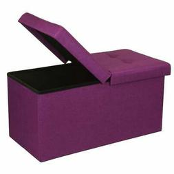 Storage Ottoman Bench 30 Inch Smart Lift Top, Orchid Purple