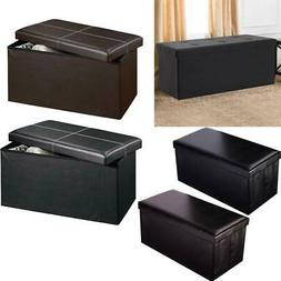 Storage Ottoman Coffee Bench Living Room Home Decor Faux Lea
