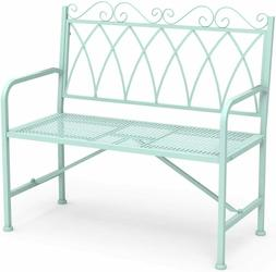 """Stylish 40.7"""" Metal Loveseat Bench with Armrests Porch Bench"""
