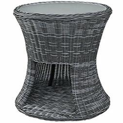 Modway Summon Outdoor Patio Tempered Glass Side Table With S