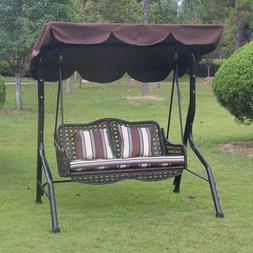Swing With Canopy Porch Bench Glider Adjustable Canopy Patio