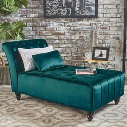 Teal Armless Velvet Chaise Lounge Chair Bench Bedroom Room F