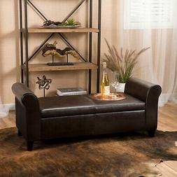 Torino Faux Leather Armed Storage Ottoman Bench By Christoph