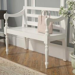 Traditional Farmhouse Wooden Bench Cottage White Solid Wood
