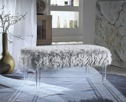 Iconic Home Trento Modern Contemporary Faux Fur Acrylic Leg