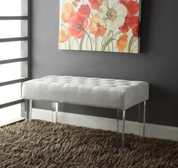 Tufted Bench Plush Seat Chair Modern Entryway Bedroom Living