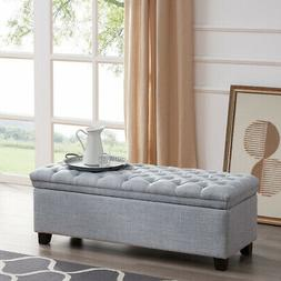 Tufted Lift Top Fabric Large Storage Ottoman Bench Footrest,