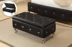 Kings Brand Tufted Design Upholstered Storage Bench Ottoman