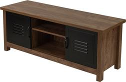 TV Stand or Storage Bench with Metal Cabinet Doors in Oak Wo