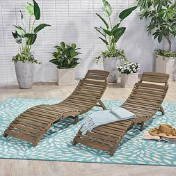 Tycie Outdoor Acacia Wood Foldable Chaise Lounge , Gray