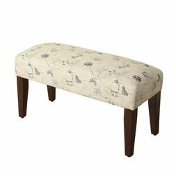 Homepop Upholstered Accent Bench With Wood Legs, Parisian Pr