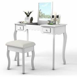 Vanity Table And Stool Set, Top Flip Mirror Cushioned Bench
