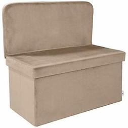 Velvet Ottomans Storage With Seat Back, Folding Chair Footst