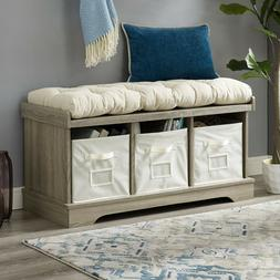 Washed Gray Storage Bench Tufted Cushion 3 Bins Chest Seat F