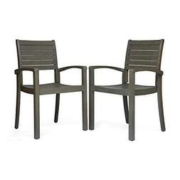Great Deal Furniture Watts Outdoor Acacia Wood Dining Chairs