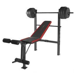 Weight Bench with Bar and Weights 100 lb Lift Set Weightlift