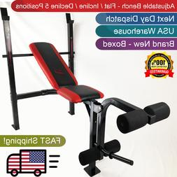 Weight Lifting Folding Bench w/ Rack Home Gym Workout Adjust