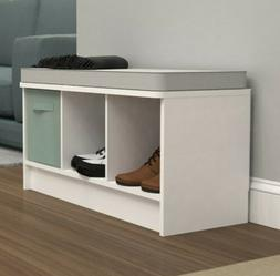 White ClosetMaid Cube Storage Bench with Gray Cushion Entryw