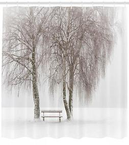 Winter Shower Curtain Snowy Bench in the Park Print for Bath
