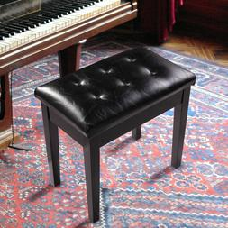 Wood Leather Piano Bench Concert Padded Keyboard Single Seat