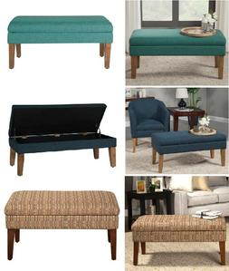 Wood Ottoman Chair Storage Bench Bedroom Entryway Cushion Se