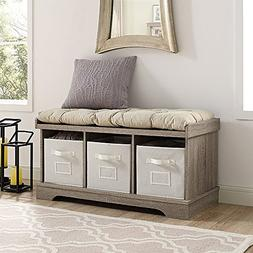 42In Wood Storage Bench With Totes & Cushion-Driftwood NEW
