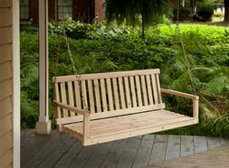 Wooden Porch Swing 4ft Natural Wood Patio Outdoor Yard Garde