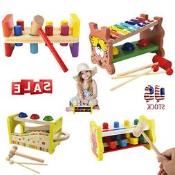 Wooden Pounding Bench Hammering Toys with Mallet Strike Game