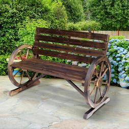 Outsunny Wooden Wagon Wheel Bench Garden Loveseat Rustic Out