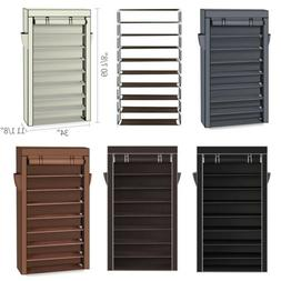 XXLarge 10 Tier Shoe Rack Cabinet 50 Pairs w/ Cover Wall Ben