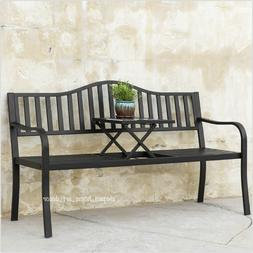 Outdoor Bench Metal Chair with Table Yard Deck Porch Small S